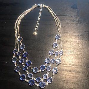 Swarovski three strand vintage silvertone/blue